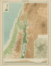 Palestine relief. Holy Land. Israel. Judea Dead Sea cross section TIMES 1922 map